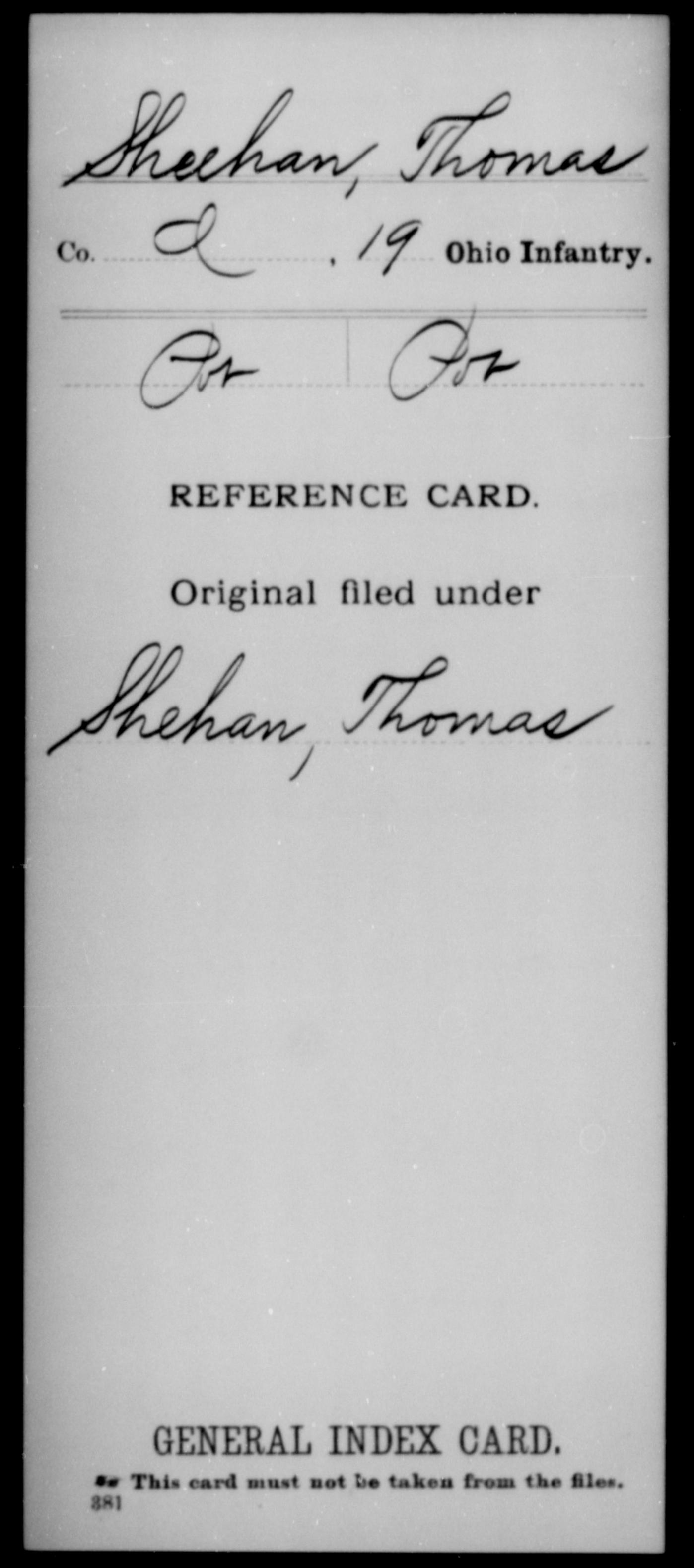 Sheehan, Thomas - Unit: 19th Infantry, Company: I - Enlistment Rank: Mus, Discharge Rank: Pvt